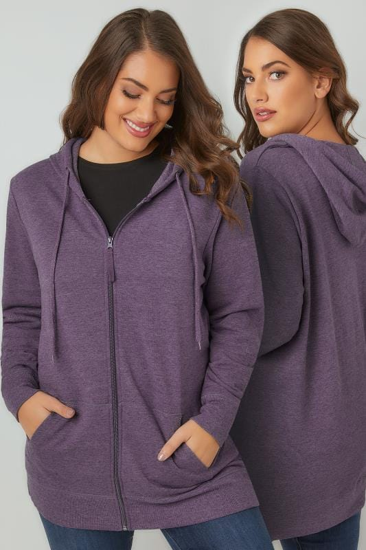 Purple Zip Through Hoodie With Pockets