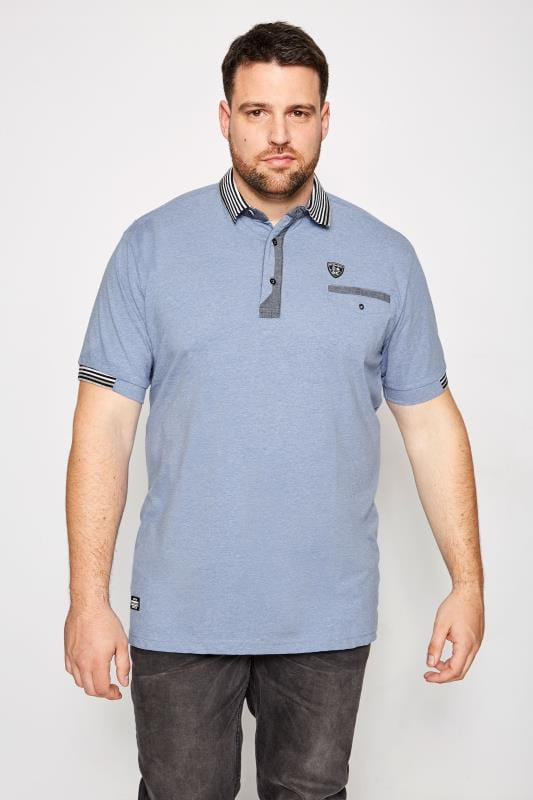 RAWCRAFT Blue Links Denim Marl Polo Shirt