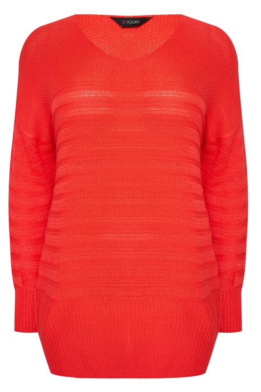 Plus Size Jumpers Bright Red Ripple Stitch Jumper