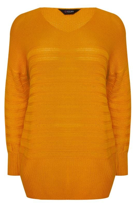 Plus Size Jumpers Mustard Red Ripple Stitch Jumper