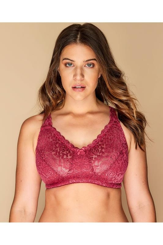 Plus Size Balcony Bras Raspberry Hi Shine Lace Non-Wired Balcony Bra
