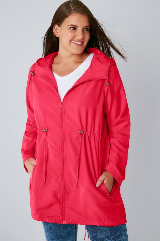Manteaux vestes imperméables anti-pluie Raspberry Pink Shower Resistant Pocket Parka Jacket With Hood 102738