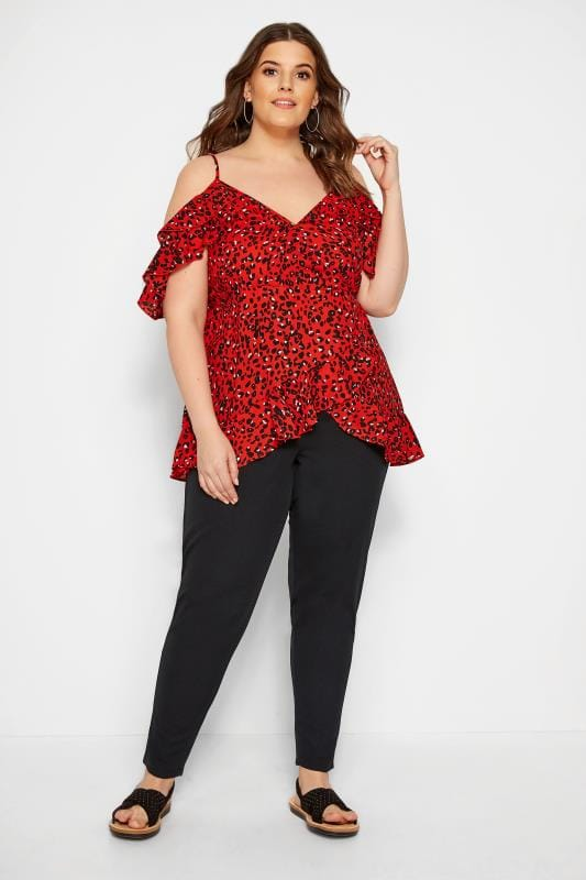 Red Animal Cold Shoulder Top