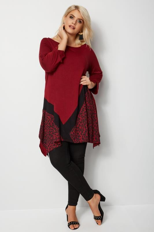 Plus Size Day Tops Red Animal Print Colour Block Hanky Hem Top