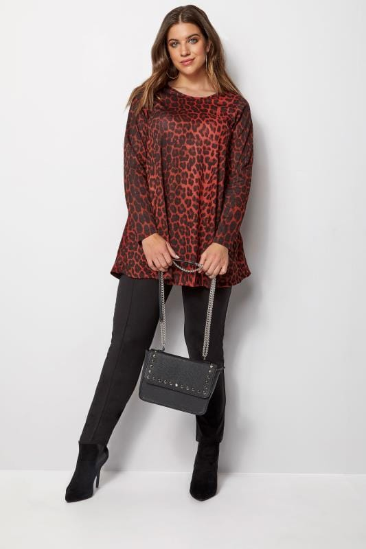Red Animal Print Swing Top