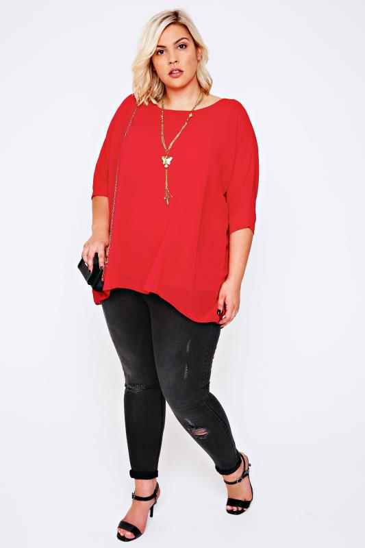 Red Batwing Sleeve Chiffon Top With Necklace