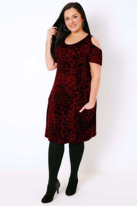 Red & Black Animal Print Cold Shoulder Dress With Drape Pockets