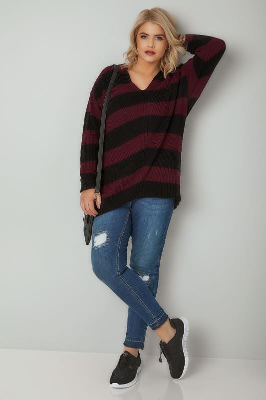 Red Amp Black Chevron Striped Longline Jumper With Curved