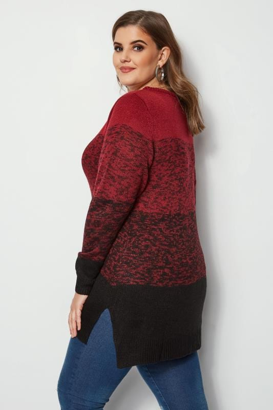 Plus Size Jumpers Red & Black Colour Block Longline Jumper