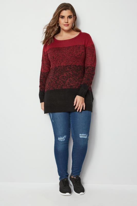 Red & Black Colour Block Longline Jumper