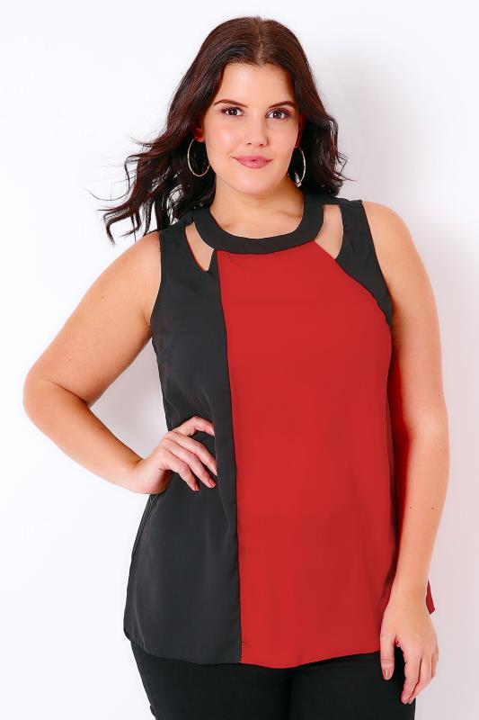 Red & Black Colour Block Top With Curved Hem & Cut Out Detail