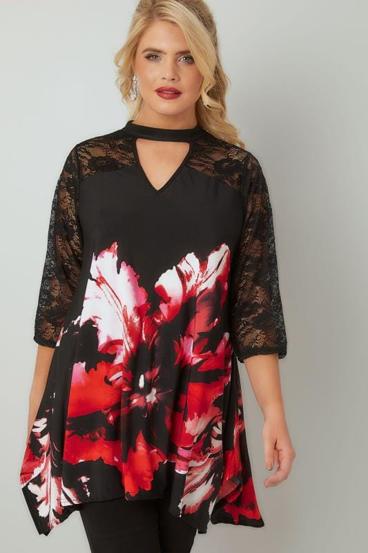 Red & Black Floral Print Top With Lace Border