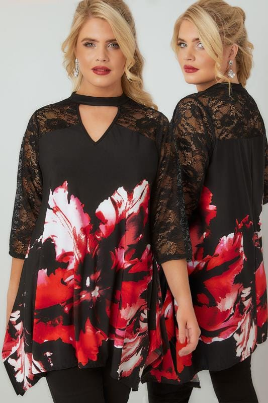 Plus Size Smart Jersey Tops Red & Black Floral Print Top With Lace Border