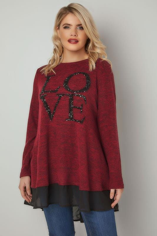 Red & Black 'LOVE' Sequin Embellished Fine Knit Top With Woven Panel