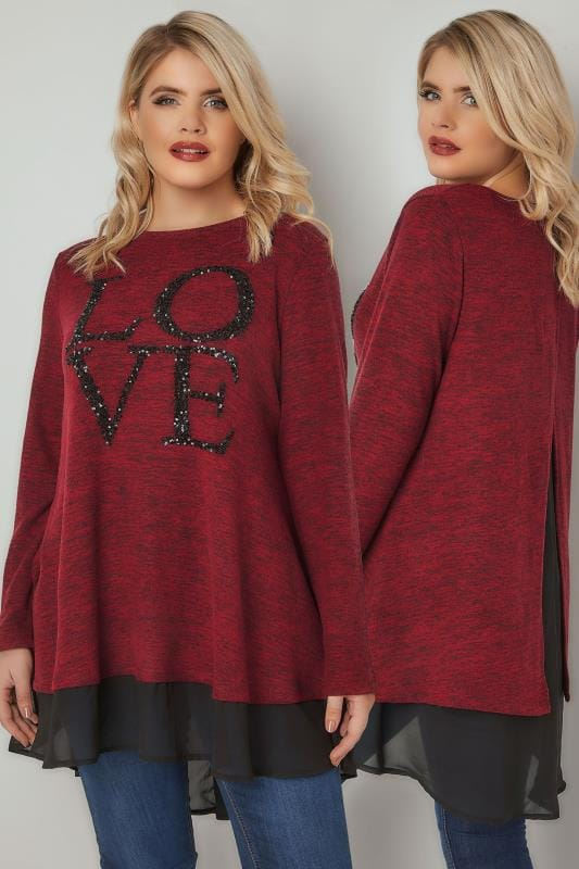 Knitted Tops Red & Black 'LOVE' Sequin Embellished Fine Knit Top With Woven Panel 132489