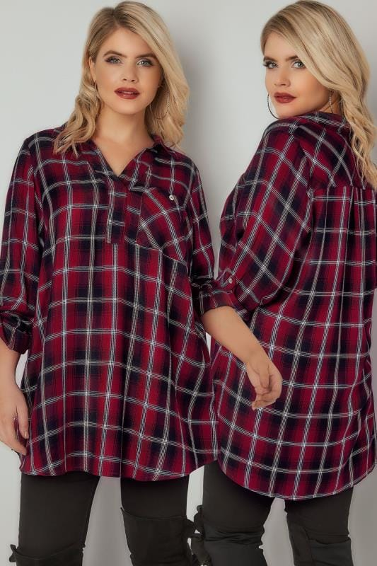 Red, Black & Metallic Oversized Checked Shirt
