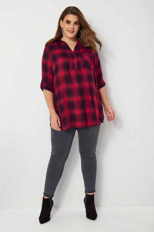 Red & Black Oversized Check Shirt