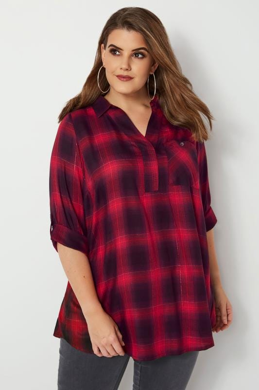 Plus Size Shirts Red & Black Oversized Check Shirt