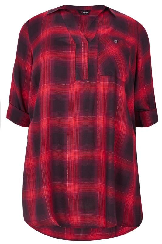 Red & Black Oversized Checked Shirt
