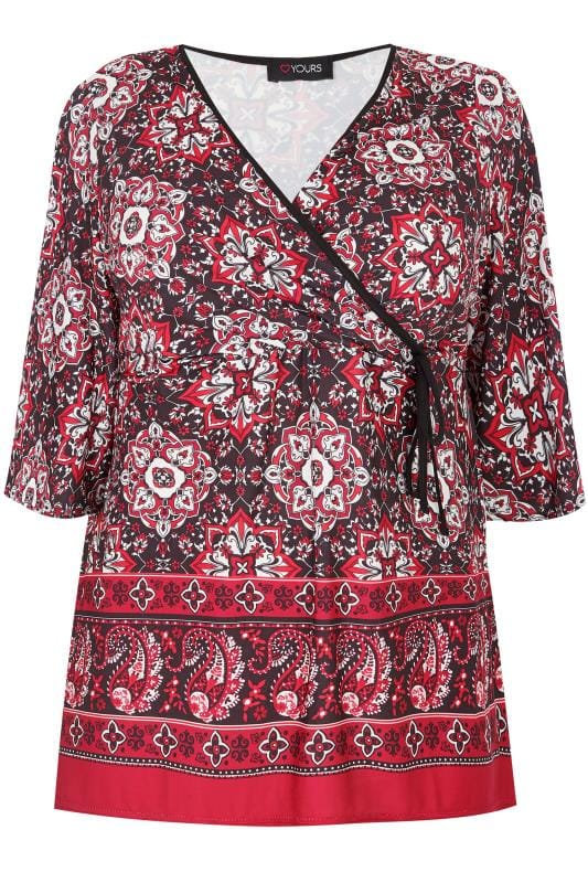 Großen Größen Jersey Shirts Red Tile Print Top With Border
