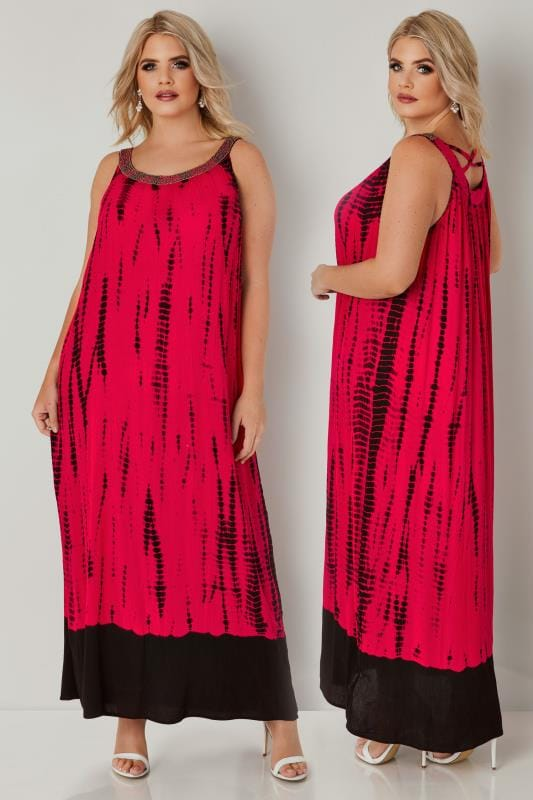 Plus Size Maxi Dresses Hot Pink & Black Tie Dye Maxi Dress With Embellished Neckline