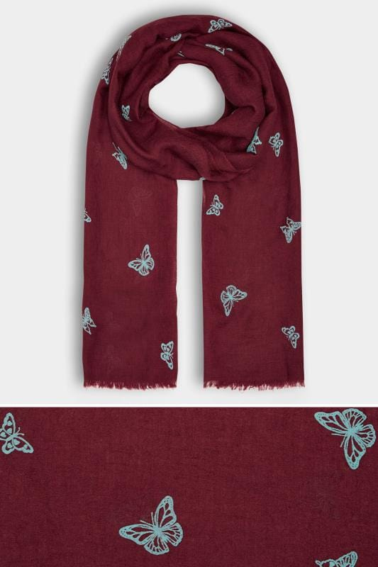 Red & Blue Butterfly Print Scarf