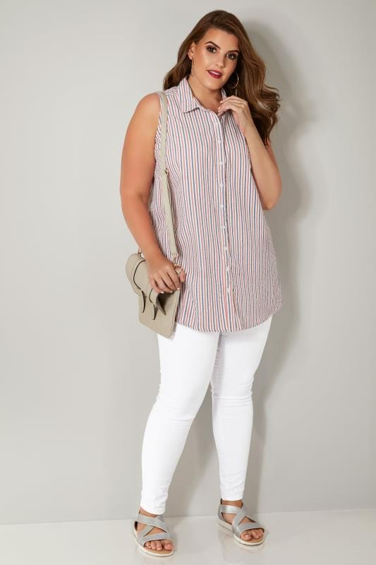 Red & Blue Striped Sleeveless Shirt