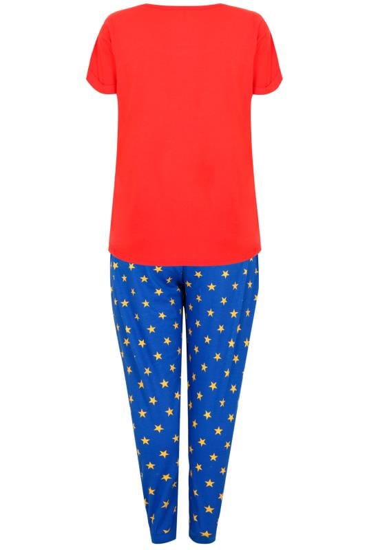 Red & Blue Wonder Woman Print Pyjama Set