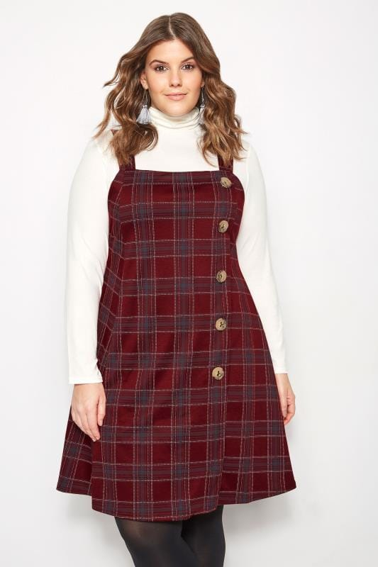 Plus Size Swing Dresses Red Check Button Pinafore Dress