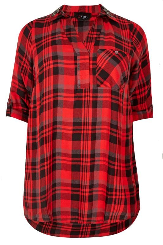 Red Check Shirt With Embellished Collar