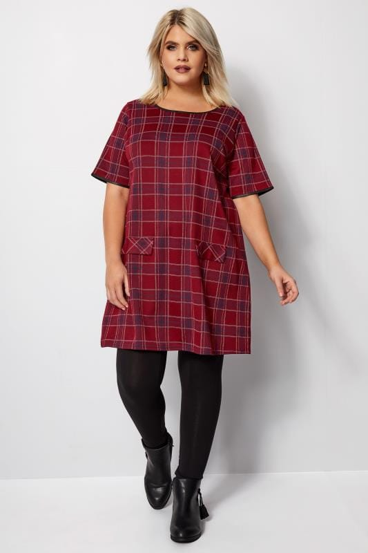 Plus Size Longline Tops Red Check Tunic Top