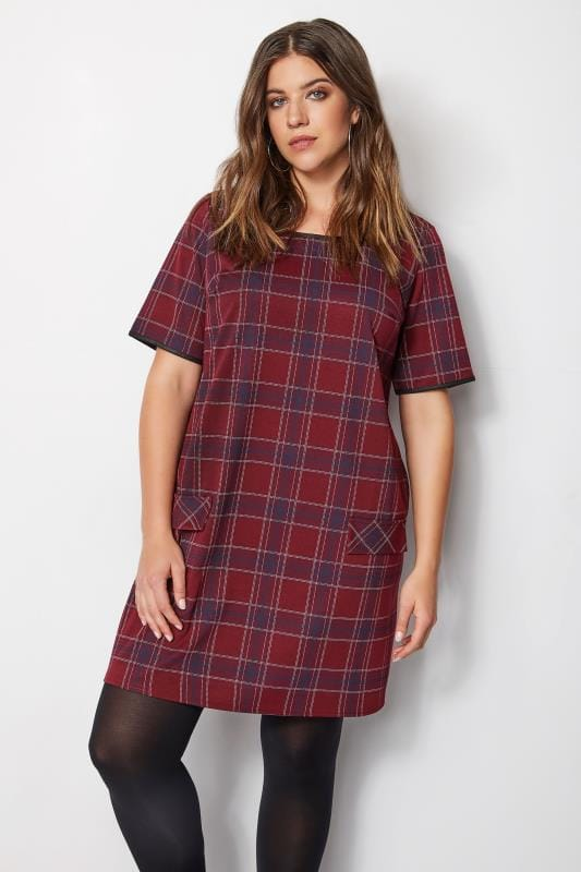 Plus Size Sleeved Dresses Red Check Tunic Dress