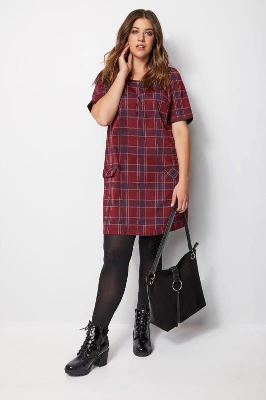 Red Check Tunic Dress