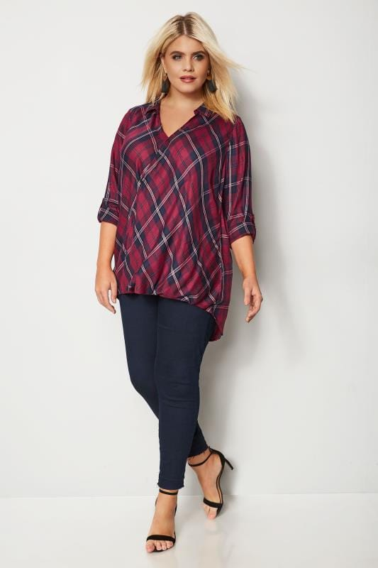 Red Check Wrap Front Blouse
