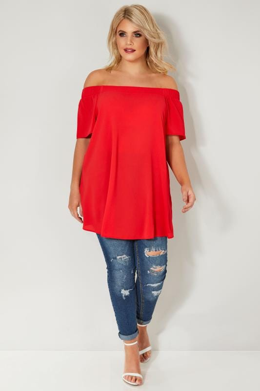 Red Chiffon Bardot Top