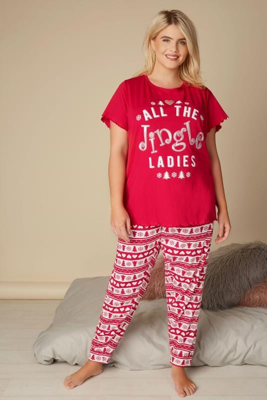 Plus Size Pyjamas Red Christmas 'All The Jingle Ladies' Pyjama Set