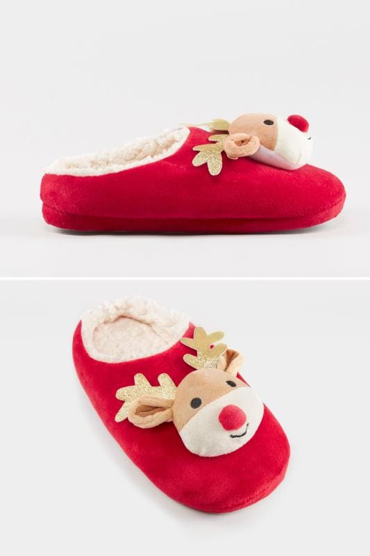 Wide Fit Slippers Red Christmas Reindeer Slipper
