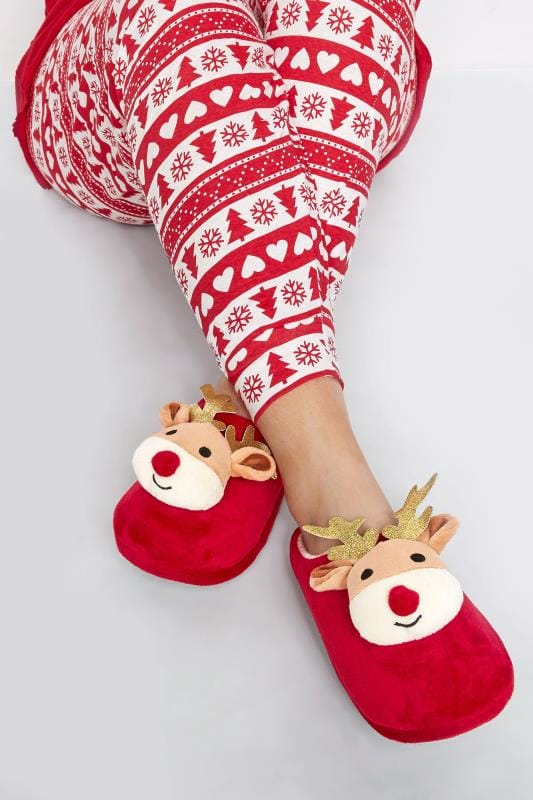 Wide Fit Slippers Red Christmas Reindeer Slippers