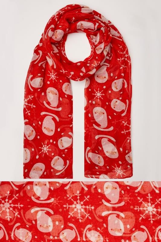 Scarves Red Christmas Santa Print Lightweight Scarf 103060