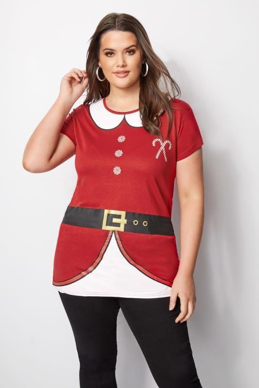 Red Novelty Christmas Santa T-Shirt