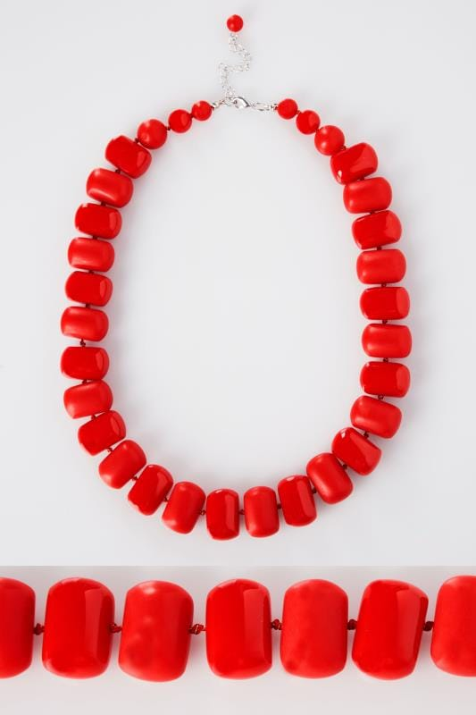 Grande taille  Colliers Collier de Perles Large Rouge