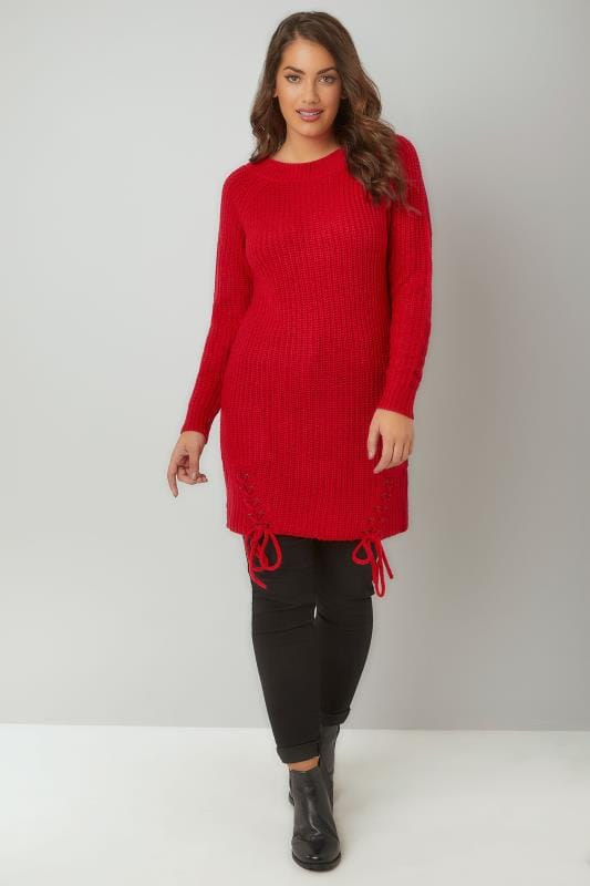 Red Chunky Knit Longline Jumper With Lace-Up Hem