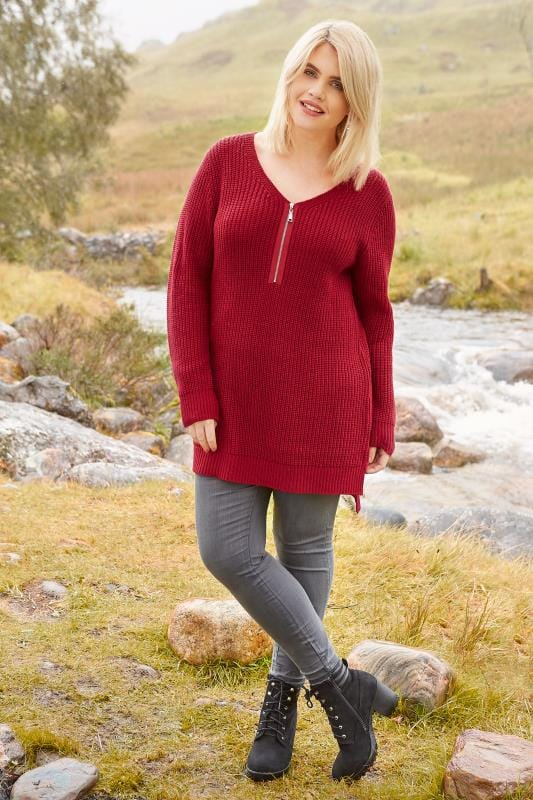 Red Chunky Knit Zip Front Jumper