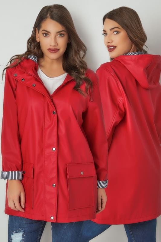 Plus Size Coats Red Coated Mac With Striped Lined Hood