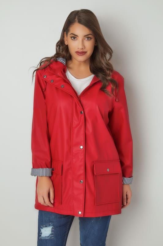 Red Coated Mac With Striped Lined Hood