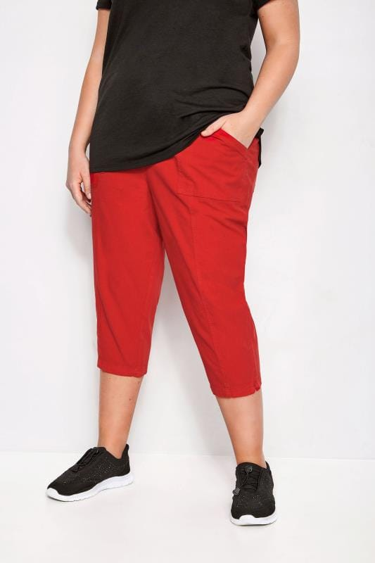 Plus Size Cropped Pants Red Cotton Cropped Trousers