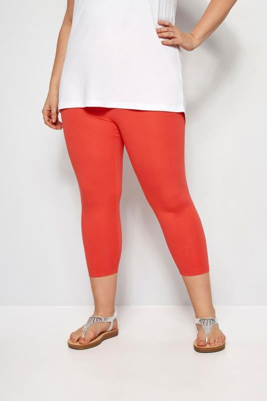 Plus Size Cropped Leggings Red Cropped Leggings