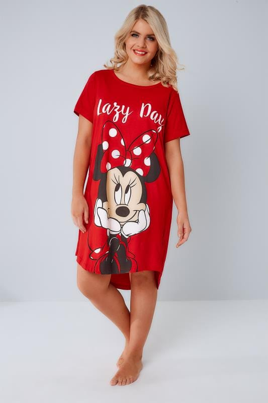 "Red Disney Minnie Mouse ""Lazy Day"" Nightdress"