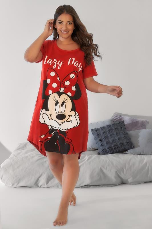 Plus Size Nightdresses & Chemises Red Disney Minnie Mouse 'Lazy Day' Nightdress