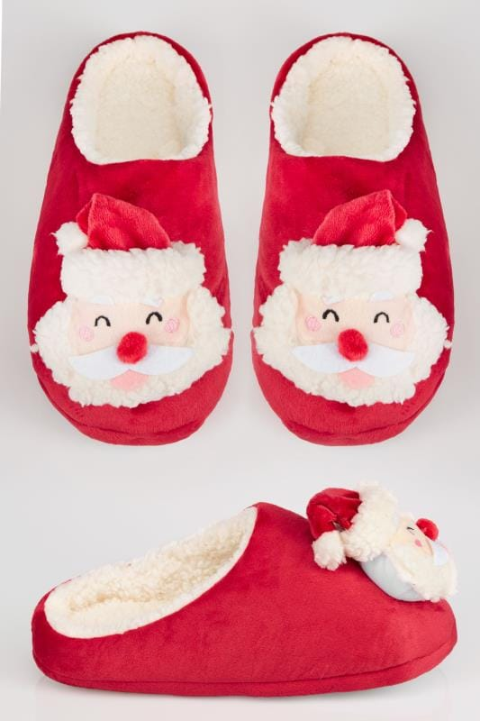 Wide Fit Slippers Red Father Christmas Mule Slipper 154075